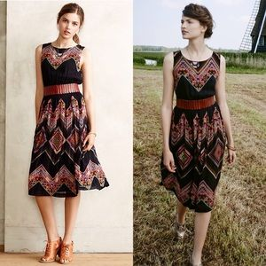 Anthropologie Patchworked Chevron Midi Dress